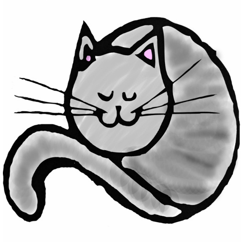 Favicon Fluffy Kitty gris et rose