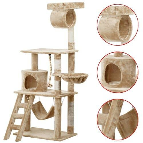 world pride cat tree furniture with hammock and platform 62 in  the best cat tree with hammock   fluffy kitty  rh   my cat furniture