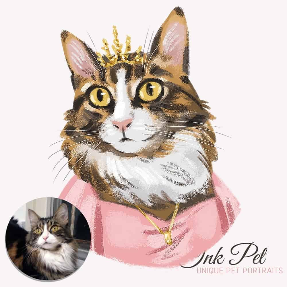 Ink-Pet Personalized Pet Portrait | Fluffy Kitty
